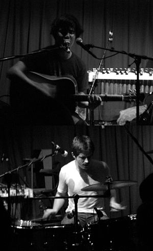 The Dodos - The Dodos performing at The Faversham, Leeds, 6 September 2008. Meric Long (top) and Logan Kroeber (bottom)