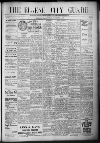 The Register-Guard - The front page of the newspaper on November 3, 1894