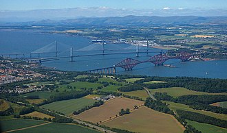 Firth of Forth - Aerial view of the Forth bridges