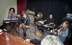 The Loud Family - The Loud Family performing at Hotel Utah, San Francisco, CA, about 1999. Left to right: Alison Faith Levy, Scott Miller, Gil Ray, Kenny Kessel. (Photo: Robert Toren.)