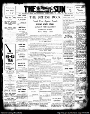 The Newcastle Sun - Front page of The Newcastle Sun on 23 March 1918.