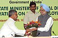 The Prime Minister, Dr. Manmohan Singh being welcomed by the Union Minister for Rural Development and Panchayati Raj, Shri C.P. Joshi at the Conference of State Rural Development Ministers, in New Delhi on September 09, 2009.jpg