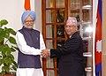 The Prime Minister, Dr. Manmohan Singh meeting the Prime Minister of Nepal, Shri Madhav Kumar Nepal, in New Delhi on August 19, 2009.jpg