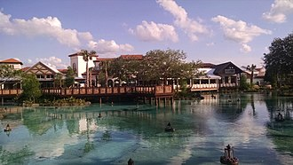 Disney Springs - The Springs of Disney Springs - Town Center (from The Landing).  Welcome Center in gabled building on left.