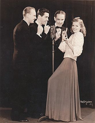 Stardusters - The Stardusters with May McKim about 1940. From left: Glen Galyon, Curt Purnell, Dick Wylder, and May McKim