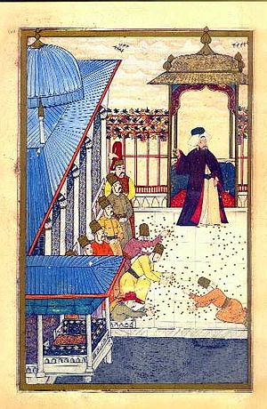 Surname-i Hümayun - During the various festivals, the Ottoman Sultan would throw gold coins into the crowd as a sign of the great wealth of the imperial household.