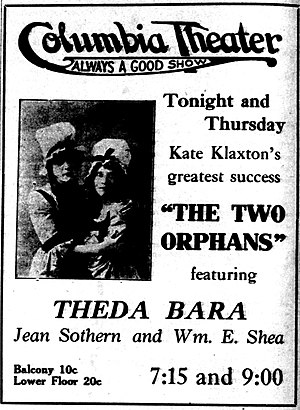 The Two Orphans (1915 film) - Newspaper advertisement.
