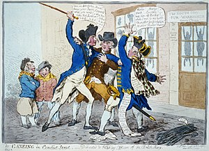 George Vancouver - In The Caneing in Conduit Street (1796), James Gillray caricatured Pitt's streetcorner assault on Vancouver.
