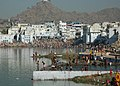 The devotees are taking a holy dip at Braham Srover in Pushkar on the occasion of Kartik Purnima on November 24, 2007.jpg