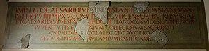 Verulamium Forum inscription - Image: The reconstructed Basilica inscription, dated to 79 or 81 AD, Verulamium Museum, St Albans (16192740628)