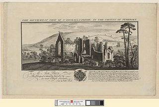 The south west view of St. Dogmael's Priory: in the county of Pembroke