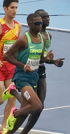 South Sudan at the 2016 Summer Olympics - Santino Kenyi (back right) competing in the men's 1500 m at the 2016 Summer Olympics.
