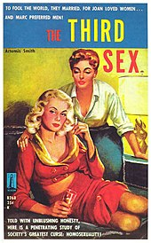 "A brightly painted book cover with the title ""The Third Sex"", with a sultry blonde wearing a red outfit showing cleavage and midriff seated on a sofa, while a redhead with short hair places her hand on the blonde's shoulder and leans over her, also displaying cleavage wearing a white blouse with rolled-up sleeves."