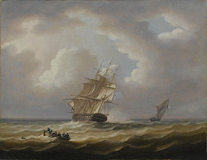 Thomas Buttersworth - A British frigate hove-to with her jollyboat preparing to pluck a man from the sea.jpg