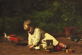Toy block - Baby at Play, by Thomas Eakins, 1876.