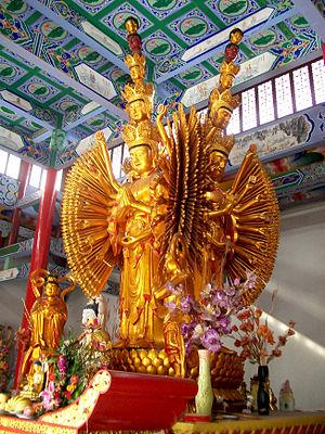 Schools of Buddhism - Thousand-armed Avalokiteśvara Bodhisattva. Guanyin Nunnery, Anhui, China