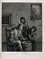 Three men round a barrel drinking, smoking and conversing. E Wellcome V0019503.jpg
