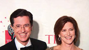 Stephen Colbert - Stephen Colbert and his wife Evelyn McGee-Colbert at the 2006 Time 100
