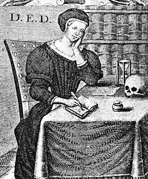 Dorothe Engelbretsdatter - Title engraving of Taare-Offer (1685) showing Engelbretsdatter at work