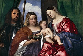 Sacra conversazione - Titian, Madonna and Child with Saints Dorothy and George, 1515–18