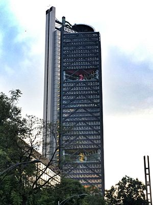 Ricardo Legorreta - Torre BBVA Bancomer on  Paseo de la Reforma in Mexico City, currently the 3rd tallest building in Mexico