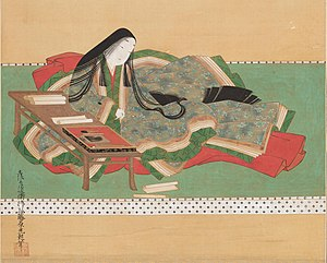 Novel - Paper as the essential carrier: Murasaki Shikibu writing her The Tale of Genji in the early 11th century, 17th-century depiction