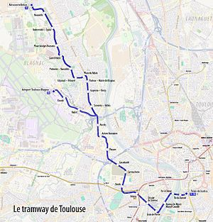 Toulouse tramway - Map of Toulouse tramway lines.