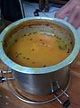 Traditional Paruppu Rasam in a Tin vessel eiyachombu.jpg