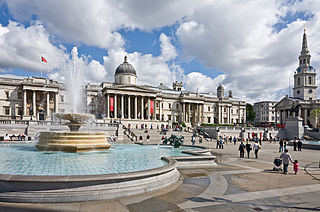 Trafalgar Square Public space and tourist attraction in central London