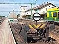 Train station, station buffer, barrel-roof covered underpass, 2019 Csorna.jpg