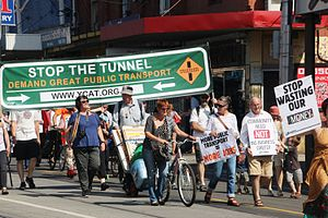 East West Link (Melbourne) - Image: Trains not Tollroads Brunswick Rally 2014