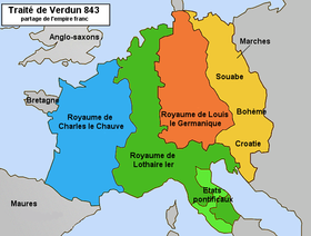 Premier partage de l Empire d Occident par le traité de Verdun (843).