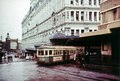 Tram in Goulburn Street Haymarket, outside Anthony Hordern's department store 1953 - A-00057644.tif