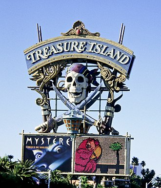 Treasure Island Hotel and Casino - Original pirate-themed sign (photographed in 1995)
