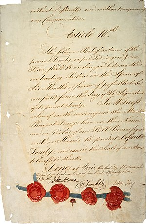 Founding Fathers of the United States - Signature page of Treaty of Paris (1783); the treaty was negotiated by John Adams, Benjamin Franklin and John Jay.