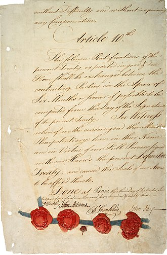 Signature page of the Treaty of Paris of 1783 that was negotiated on behalf of the United States by John Adams, Benjamin Franklin and John Jay Treaty of Paris 1783 - last page (hi-res).jpg