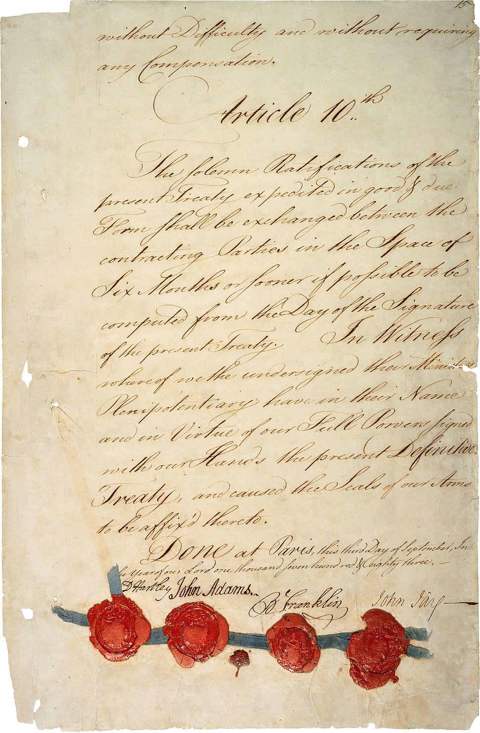 Treaty of Paris 1783 - last page (hi-res)