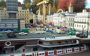 History of Lego - This Lego model of a composite of London, including a motorized model of a London Underground train controlled by computers, can be seen in Legoland Windsor.