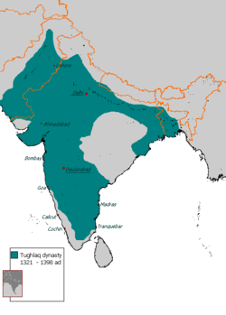 Territory under Tughlaq dynasty of Delhi Sultanate, 1330-1335 AD. The empire shrank after 1335 AD.[3]