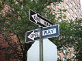 Two 'ONE WAY' traffic signs, Manhattan, New York City, New York - 20081004.jpg