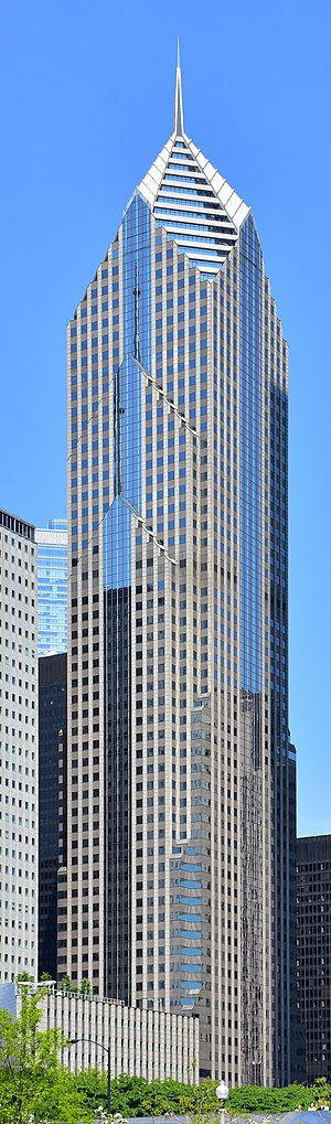 Two Prudential Plaza - 2 Prudential Plaza (center) and the Aon Center (right) with the 1 Prudential Plaza (left)