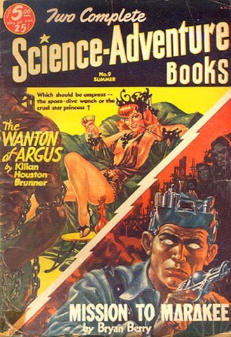 """John Brunner (novelist) - Brunner's short novel """"The Wanton of Argus"""" was originally published in Two Complete Science-Adventure Books in 1953, before appearing in book form as The Space-Time Juggler"""