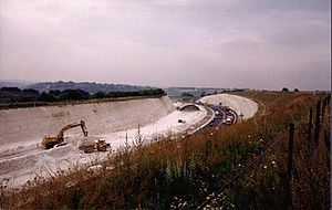 M3 motorway (Great Britain) - The M3 under construction at Twyford Down