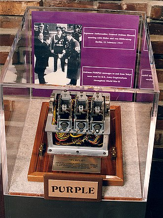 Hiroshi Ōshima - Fragment of an actual Purple machine from the Japanese embassy in Berlin, obtained by the United States at the end of World War II. The photograph in the display shows Hiroshi Oshima shaking hands with Adolf Hitler. Joachim von Ribbentrop stands in the middle.