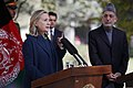 U.S. Secretary of State Hillary Rodham Clinton, left, and Afghan President Hamid Karzai, right, hold a press conference at the Presidential Palace in Kabul, Afghanistan 111020-S-PA947-874.jpg