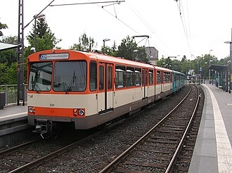 Siemens–Duewag U2 - Siemens-Düwag U2 car in Frankfurt. The U2's originated in Frankfurt's U-Bahn Network.