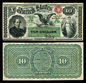 Interest bearing note - Image: US $10 IBN 1864 Fr.196a