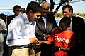 USAID Administrator Shah visits earthquake survivors in a tent city in Haiti (4301707638).jpg