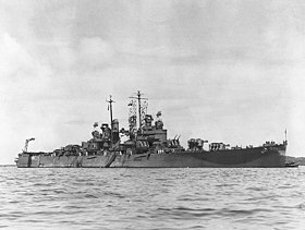 USS Denver (CL-58) in a South Pacific harbour, circa 1943 (NH 84397).jpg