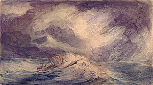 USS Flying Fish (1838) - The Flying Fish in a gale, as drawn by Alfred Thomas Agate
